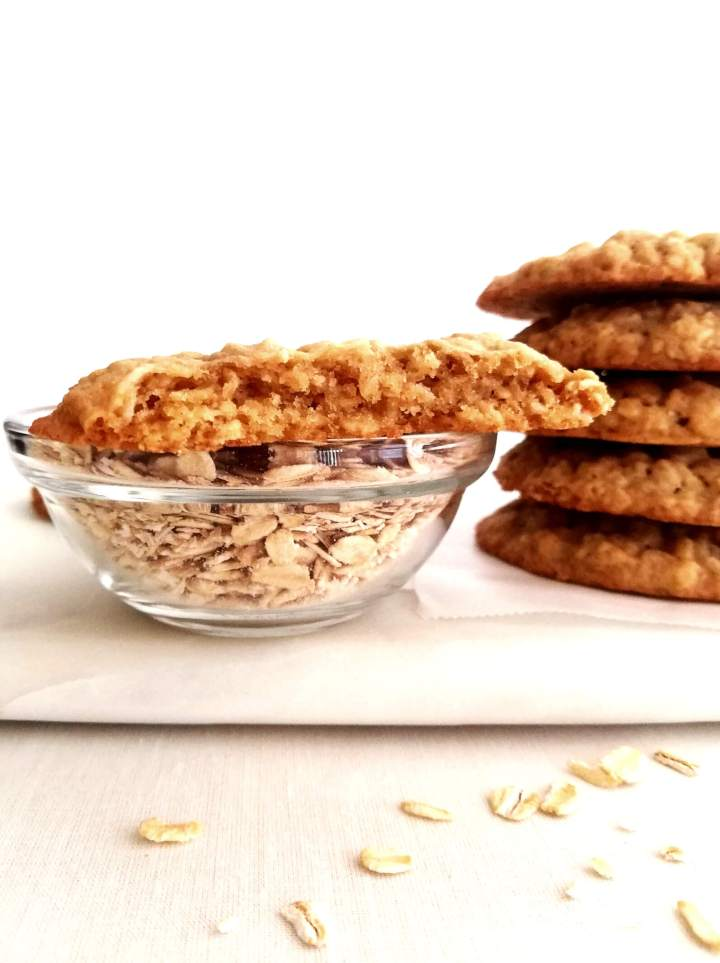 oatmeal cookie cut in half head on view