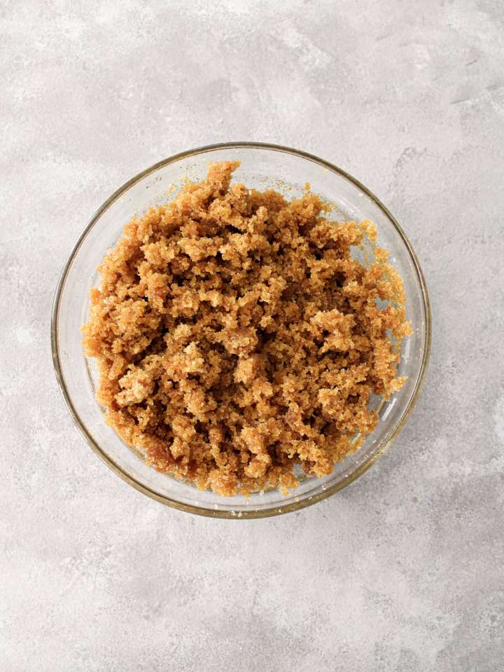 brown sugar in bowl overhead image