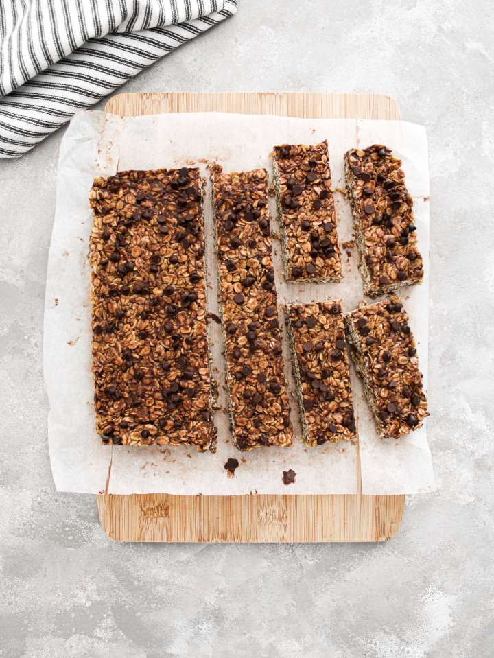 chocolate chip oat bars on cutting board overhead