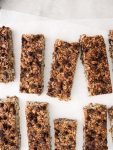 chocolate chip oat bars on parchment paper overhead