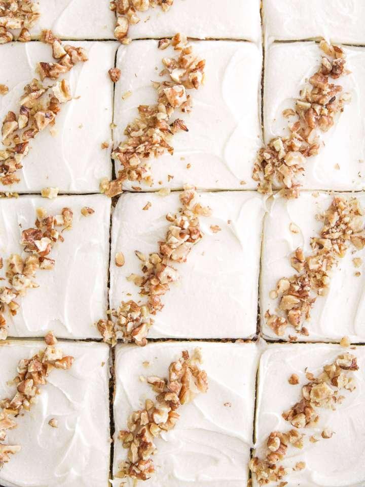 pumpkin sheet cake sliced close up
