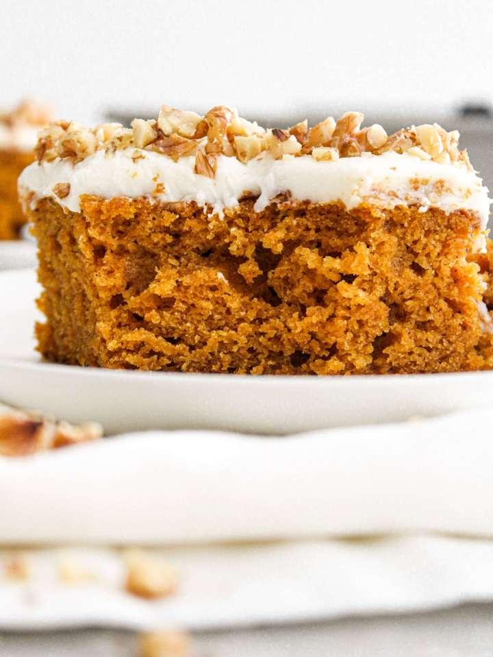 pumpkin sheet cake bite missing from slice