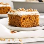 pumpkin sheet cake slice in plate head on view