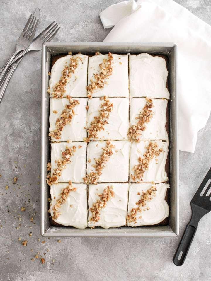 pumpkin sheet cake sliced in pan overhead