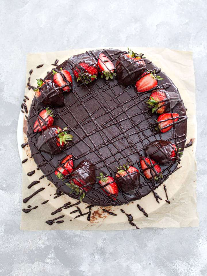 chocolate covered strawberry cake decorated overhead view