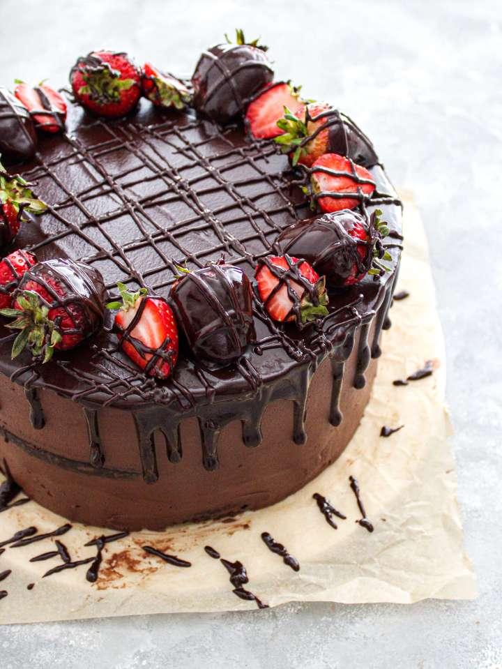 chocolate covered strawberry cake decorated three quarter view
