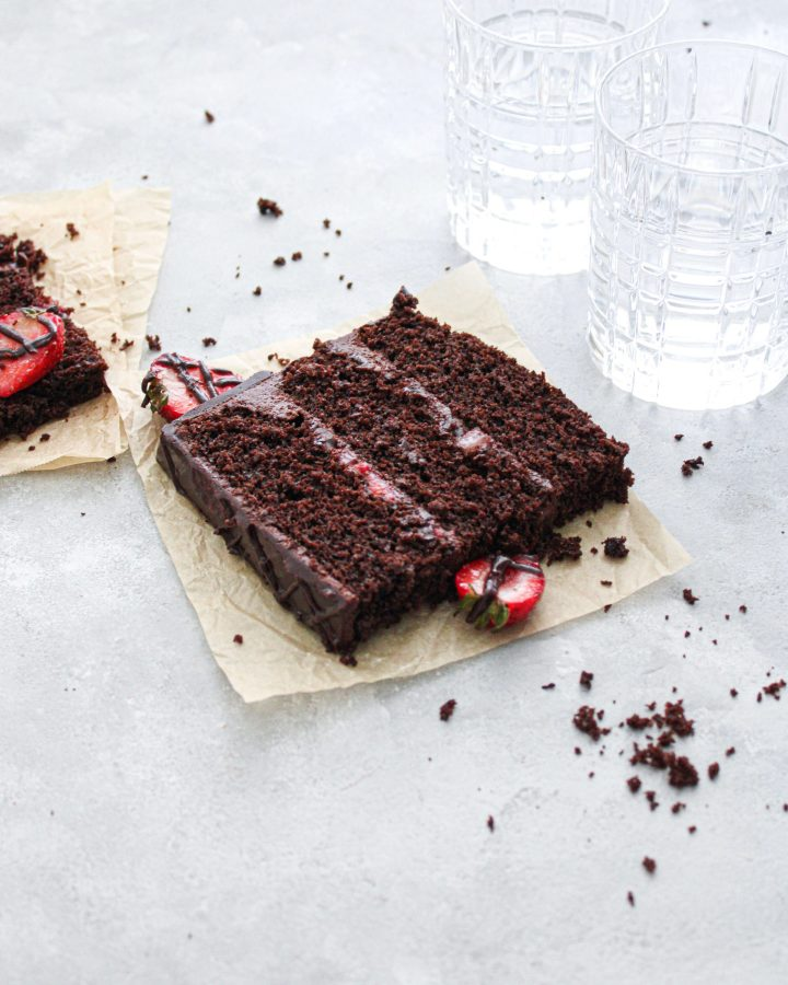 chocolate covered strawberry cake slice on parchment plate (3)