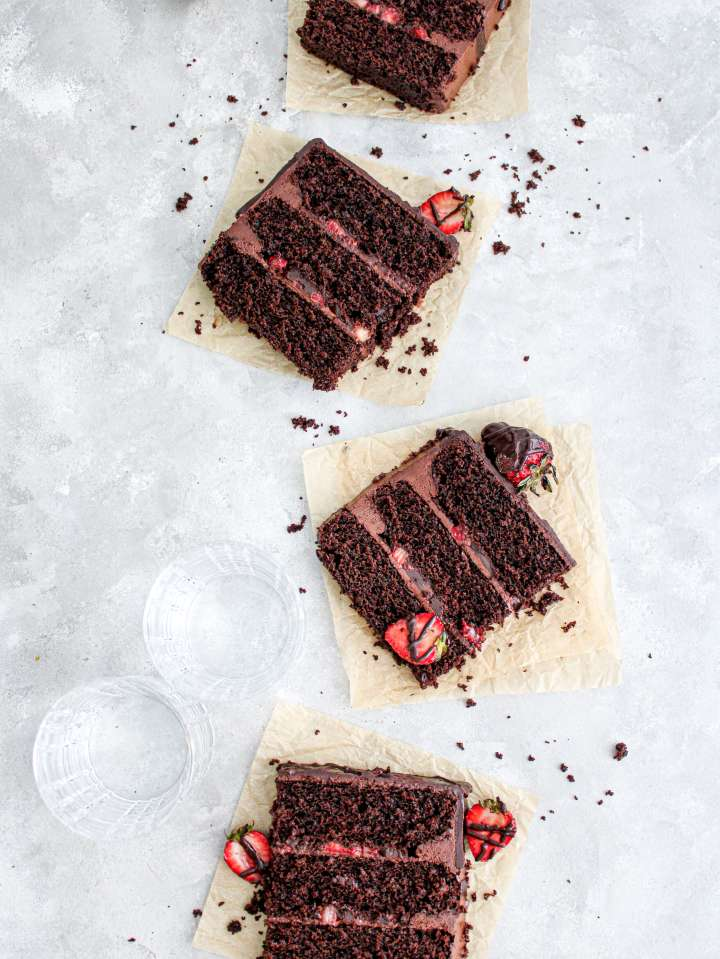 chocolate covered strawberry cake slice on parchment plate (4)