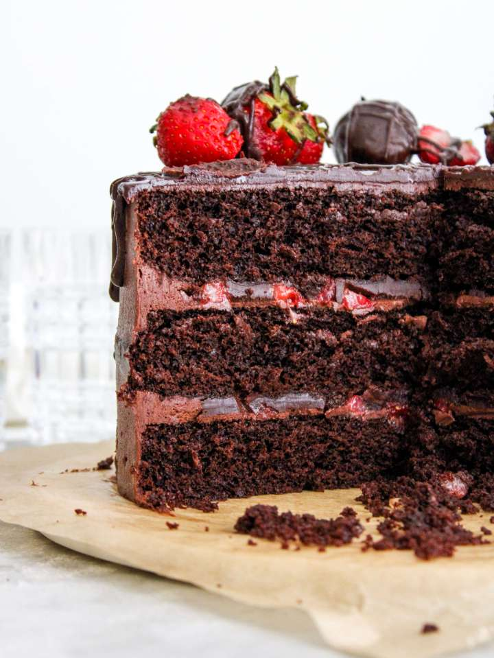 chocolate covered strawberry cake sliced inside view