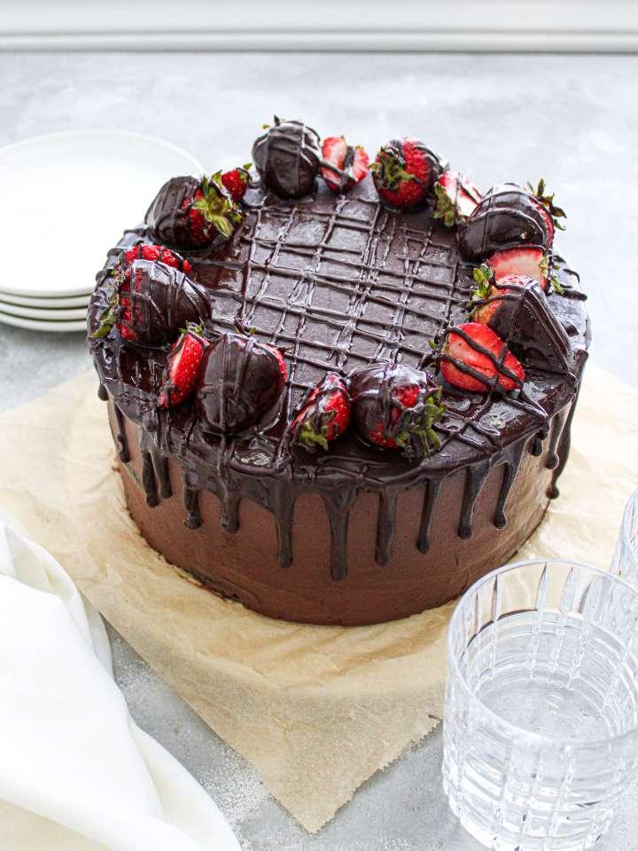 chocolate covered strawberry cake three quarter view