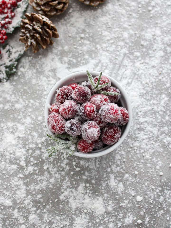 sugared cranberries and rosemary in ramekin overhead image