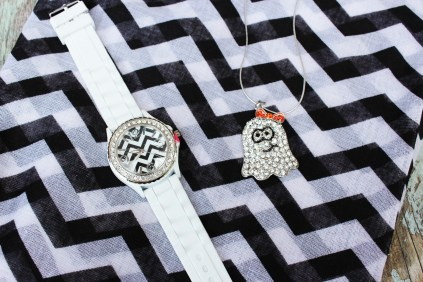 Ghost necklace and chevron watch