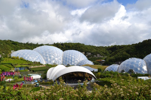 The white biomes of The Eden Project surrounded by greenery
