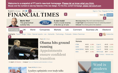 screengrab of FT homepage