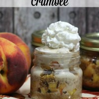 Mason Jar Peach Crumble
