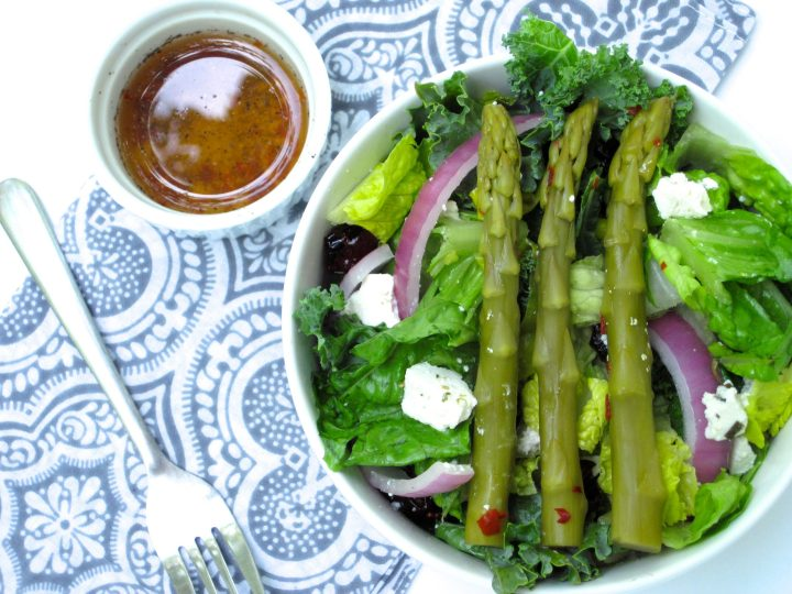 Valentine's Day Recipe Ideas - Crunchy Salad with Pickled Asparagus Vinaigrette | Paleo dinners, sides, and special treats for the perfect date night. | eatsomethingdelicious.com