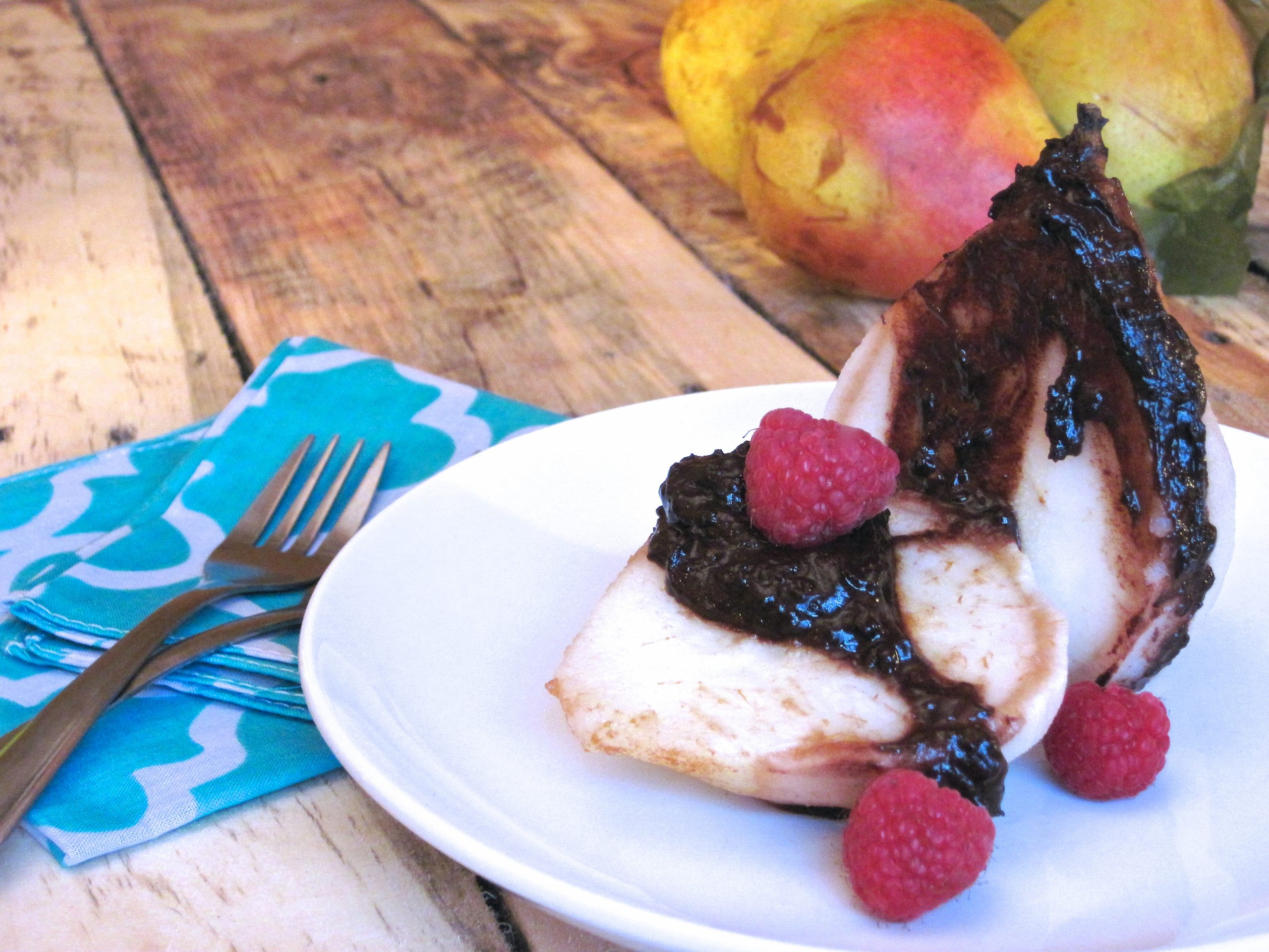 Poached Pears with Raspberry Dark Chocolate | Eat Something Delicious