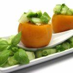 Apricots with Cucumber Melon Salsa | Fresh apricots stuffed with a refreshing cucumber melon basil salsa. Makes a great appetizer or a light dessert. | eatsomethingdelicious.com
