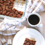 Pecan Pie Shortbread Bars | Pecan pie inspired shortbread bars are made with layers of maple shortbread, dairy free date caramel, and candied cinnamon pecans. Vegan and Paleo friendly. | eatsomethingdelicious.com