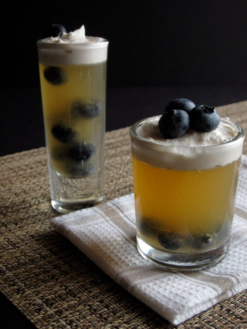 Mango Blueberry Kombucha Desserts | Mango kombucha gelatin with fresh blueberries is served in mini dessert glasses and topped with whipped coconut cream. Completely paleo, gluten free, and dairy free. | eatsomethingdelicious.com