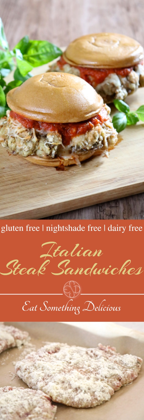 Nightshade-Free Italian Steak Sandwiches | Paleo-friendly sandwiches made from breaded cube steak topped with melted dairy free or regular cheese and tomato sauce. With a nightshade-free option. | eatsomethingdelicious.com