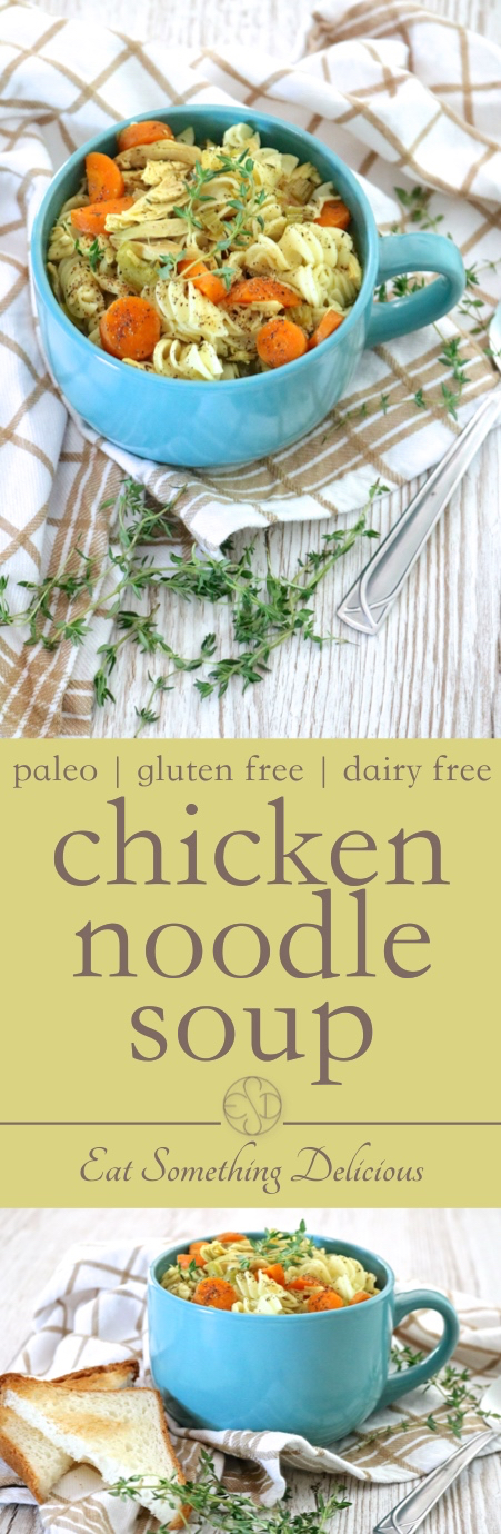 Chicken Noodle Soup | Chicken noodle soup made with roasted chicken, a rich bone broth base, and lots of options for gluten free or paleo noodles. | eatsomethingdelicious.com