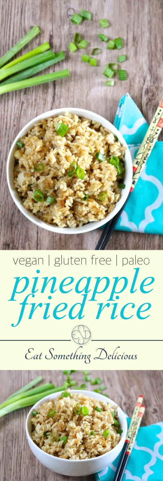Pineapple Fried Rice | Pineapple fried rice is the perfect summer side dish for grilled chicken or fish. Make it a meal on it's own by mixing in shrimp or keep it vegan with tofu. | eatsomethingdelicious.com
