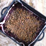 Open Fire Chocolate Cherry Crisp | A large batch of chocolate cherry crisp cooked over an open fire. Perfect for backyard parties. Made with only gluten free, paleo, and vegan ingredients. | eatsomethingdelicious.com