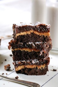 Chocolate Sunbutter Gooey Butter Cake | Chocolate flavored gooey butter cake with a thick layer of sunbutter (or peanut butter!) in the middle. Free from dairy, gluten, grains, and soy. | eatsomethingdelicious.com