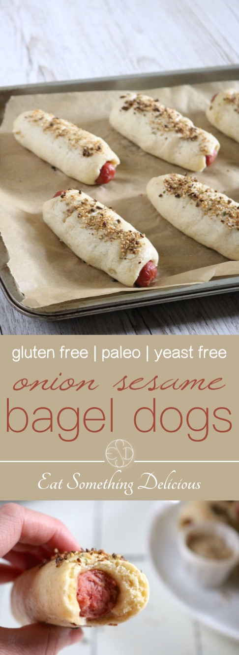 Onion Sesame Bagel Dogs | Hot dogs wrapped in a chewy, yeast free bagel dough with roasted garlic and onion baked right in then topped with an onion sesame mixture. Paleo friendly. | eatsomethingdelicious.com
