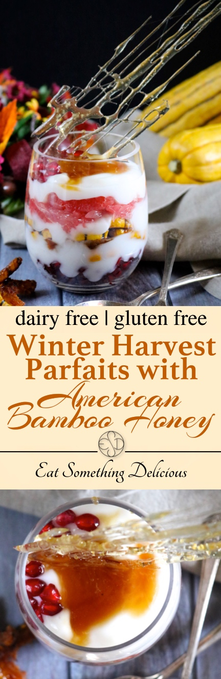 Winter Harvest Parfaits with American Bamboo Honey | Dairy free yogurt, pomegranate, grapefruit, and candied delicata squash are layered together in a parfait and finished with American bamboo honey on top. | eatsomethingdelicious.com