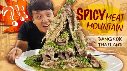 SPICY MEAT MOUNTAIN,  Legendary Noodles & Thai Street Food in Bangkok Thailand  Train Market