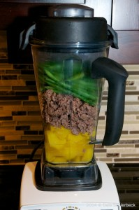 Add ingredients to blender for Low Phosphorus Dog Food …