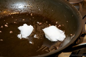 Melt coconut oil for Low Phosphorus Dog Food