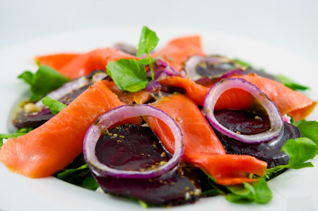 Watercress Salad with Smoked Salmon & Roasted Beets