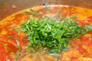 Add basil to soup