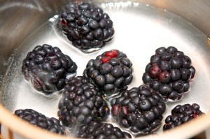 Add blackberries to saucepan