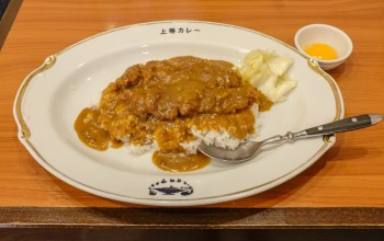 Japanese curry vs Indian curry. Picture of katsu curry and an egg on the side.