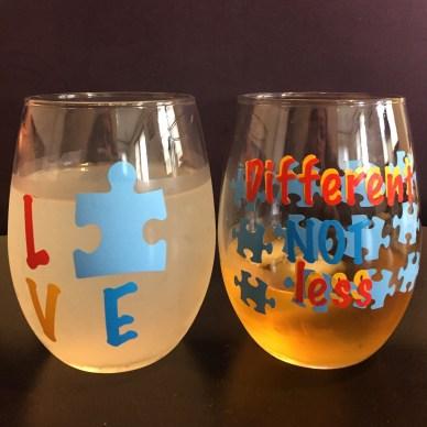 Autism Awareness wine glasses