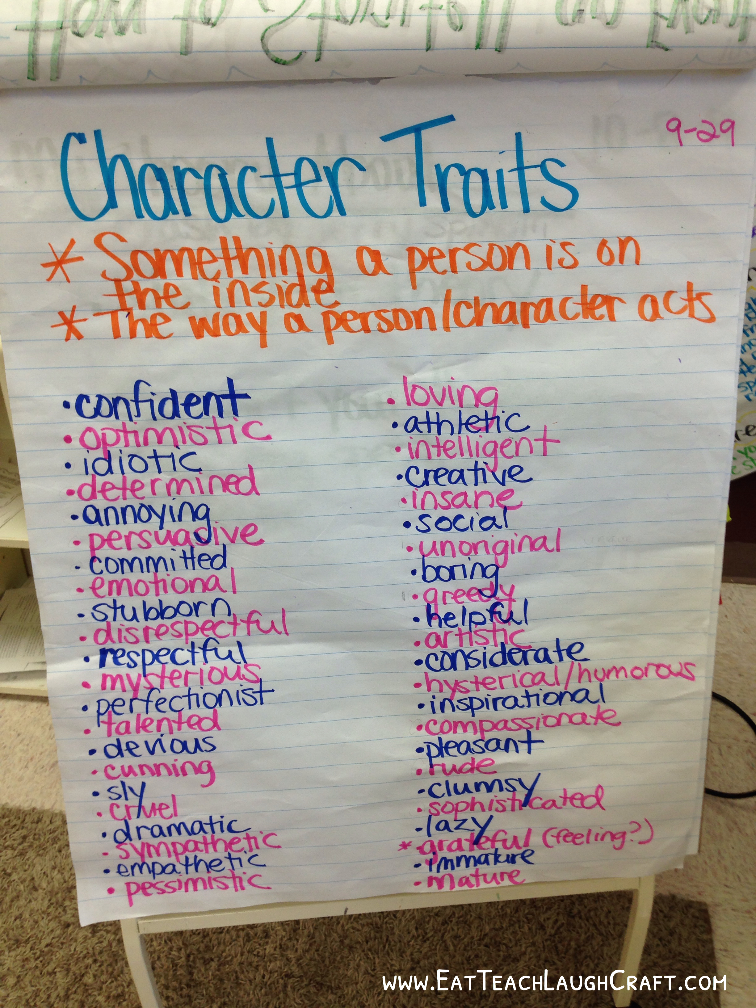 Categorizing Character Traits In A 5th Grade Class