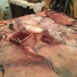 DIY flayed flesh horror tablecloth for halloween