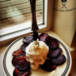 Baked beet chips for Halloween appetizer