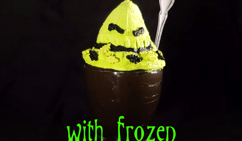 Hot Chocolate Pudding with Oogie Boogie frozen whip all finished hero shot
