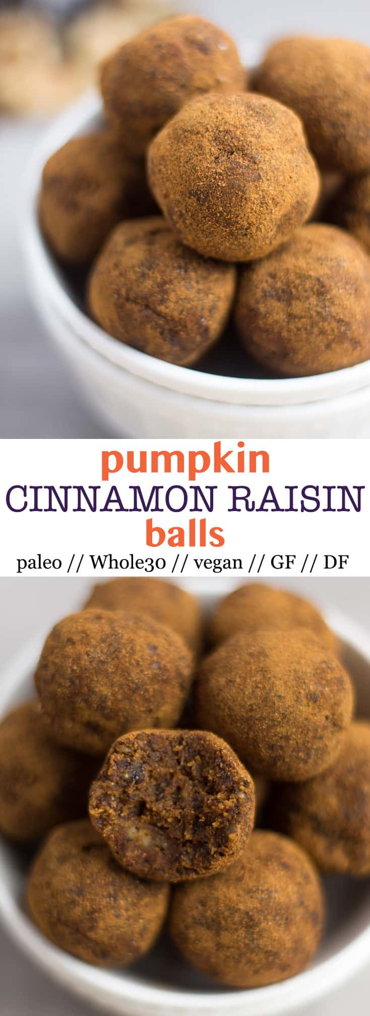 Classic fall flavors make their way into thesePumpkin Cinnamon Raisin Balls for the perfect snack or energy ball pick-me-up. Vegan, paleo, and Whole30 approved! - Eat the Gains