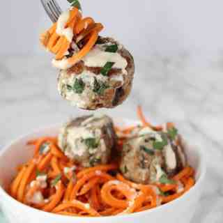 Spinach & Artichoke Chicken Meatballs with Lemon Garlic Sauce
