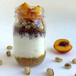 Quinoa Pistachio Peach Yogurt Parfait