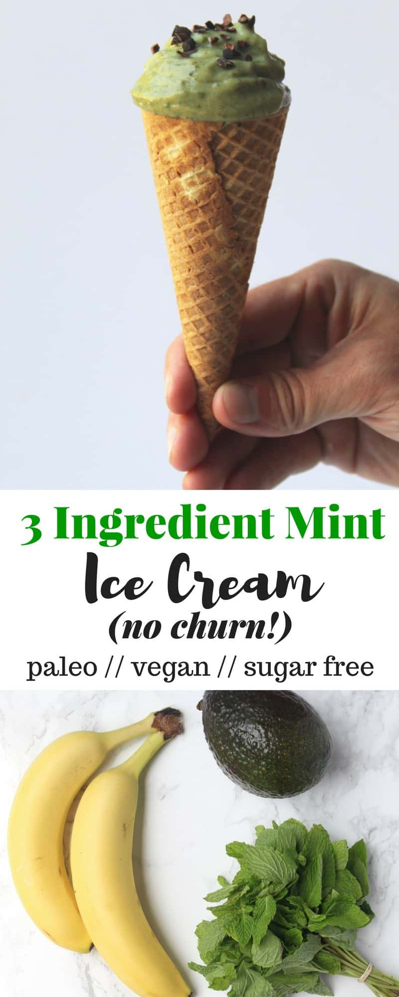Just 3 healthy ingredients make up this Mint Ice Cream that is doesn't require an ice cream maker and can be made in under 5 minutes! Vegan, paleo, and gluten free - Eat the Gains
