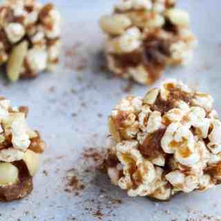 No Bake Peanut Butter Caramel Popcorn Balls