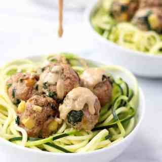 Turkey, Kale, & Apple Meatballs with Apple Tahini Sauce
