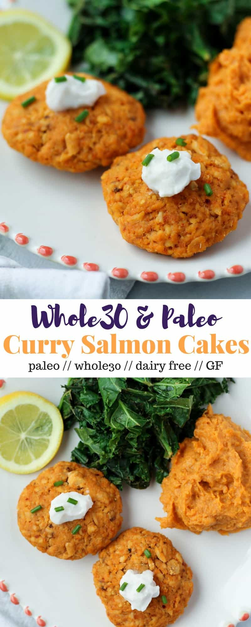 These Curry Salmon Cakes come together in 15 minutes and make the prefect quick & healthy meal or meal prep dish, and are paleo and Whole30 approved - Eat the Gains